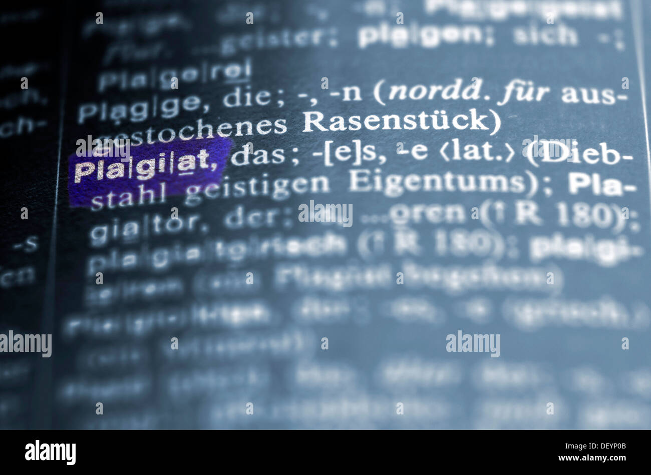 definition of plagiarism in a german dictionary, plagiat stock photo