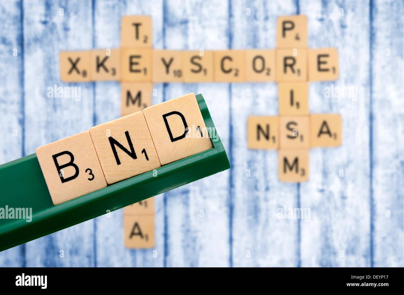 Stroke Federal Intelligence Service, cooperation of Federal Intelligence Service and NSA, Schriftzug BND, Zusammenarbeit von Bun - Stock Image