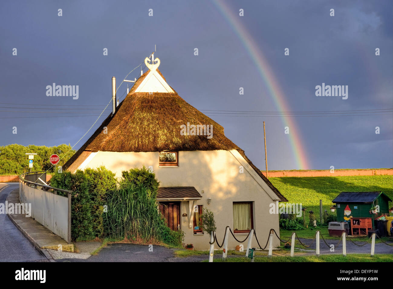 Rainbows and half-timbered house in Kirchwerder, 4 and marshy land, Hamburg, Germany, Europe, Regenbogen und Fachwerkhaus in Kir - Stock Image
