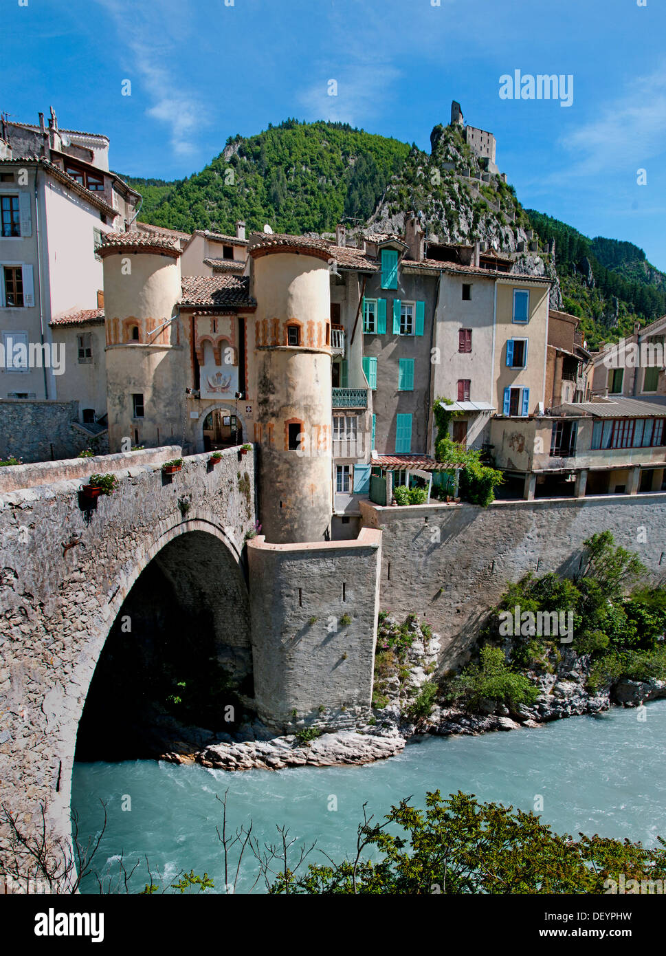 Entrevaux medieval city fortified by Vauban France Alpes de Haute Provence Citadel - Stock Image
