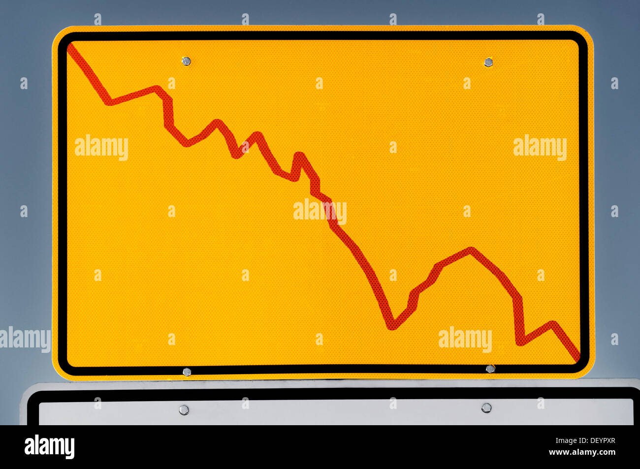 Place-name sign with declining stock chart, symbolic image - Stock Image