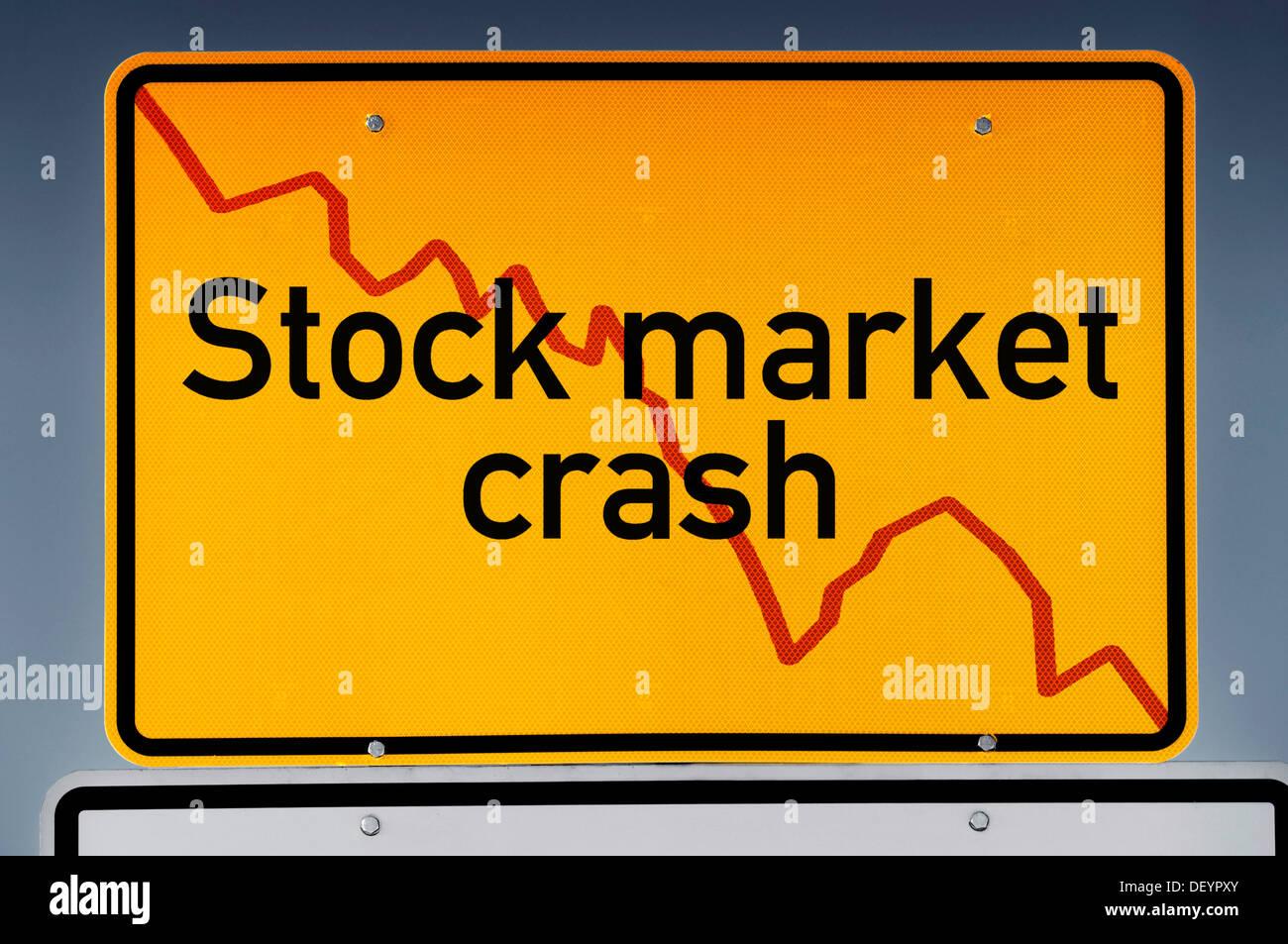 Place-name sign with declining stock chart, lettering 'stock market crash', symbolic image - Stock Image