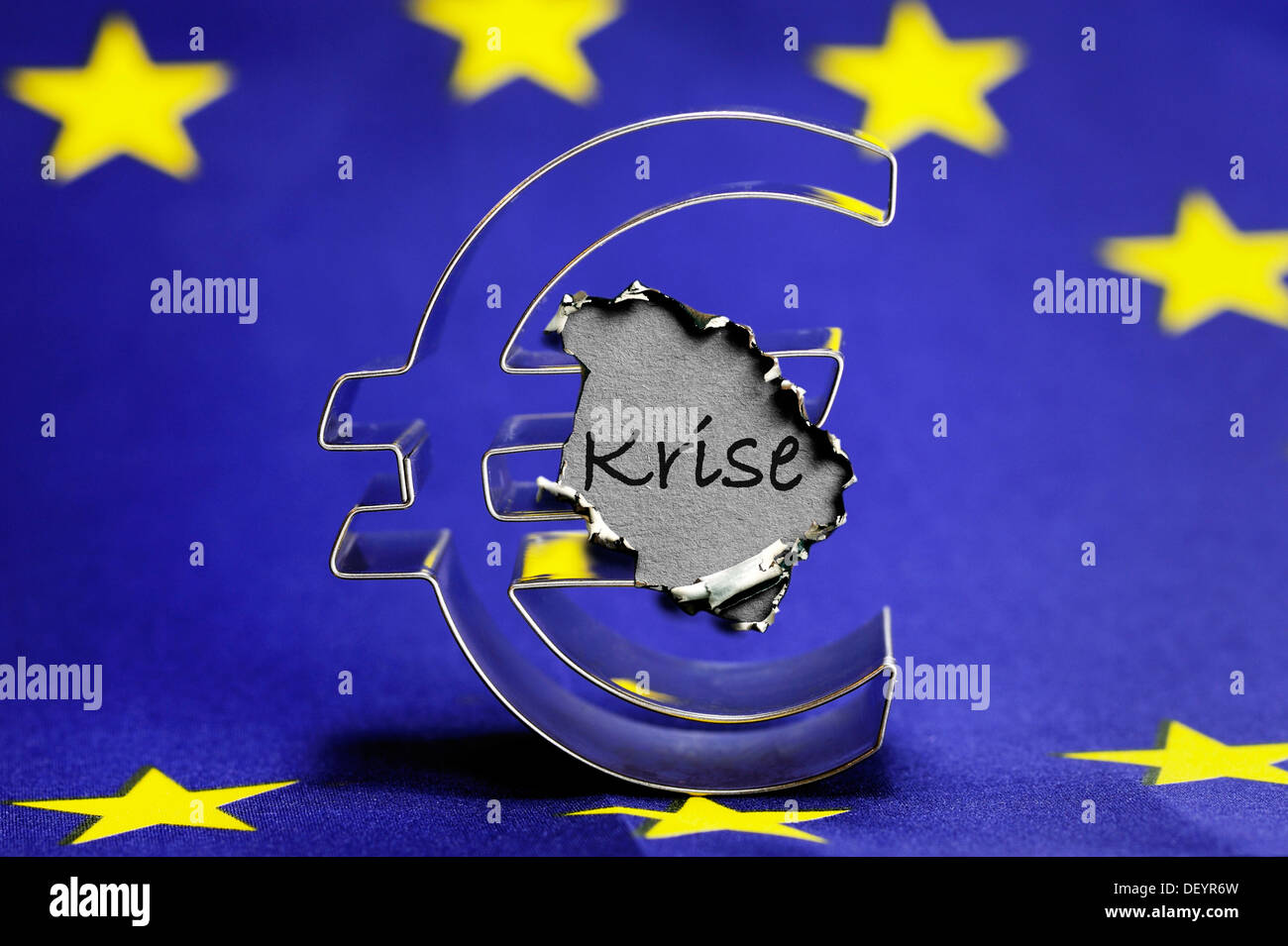 Euro Symbol On A European Flag Stock Photos Euro Symbol On A