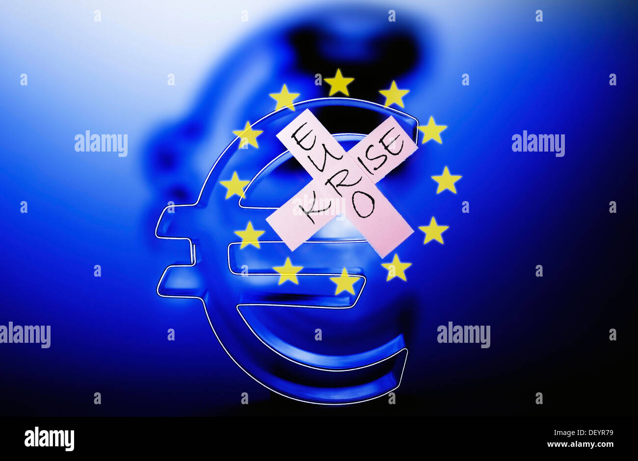 Euro symbol with a plaster with the words Euro Krise on the EU flag, symbolic image of the euro crisis - Stock Image