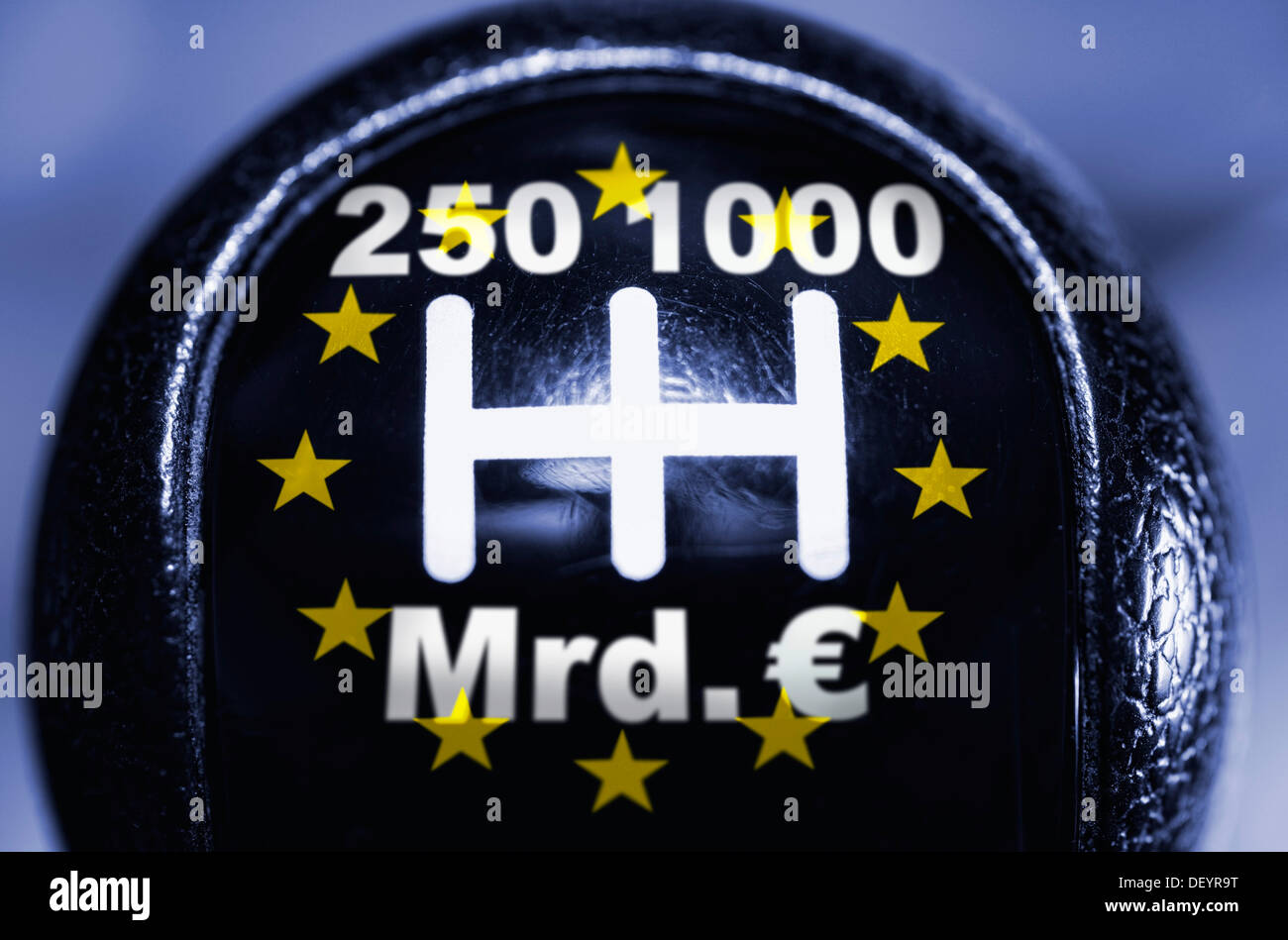 Gear lever with 250 and 1000 billion Euro options, symbolic image, rescue lever, rescue of the Euro - Stock Image
