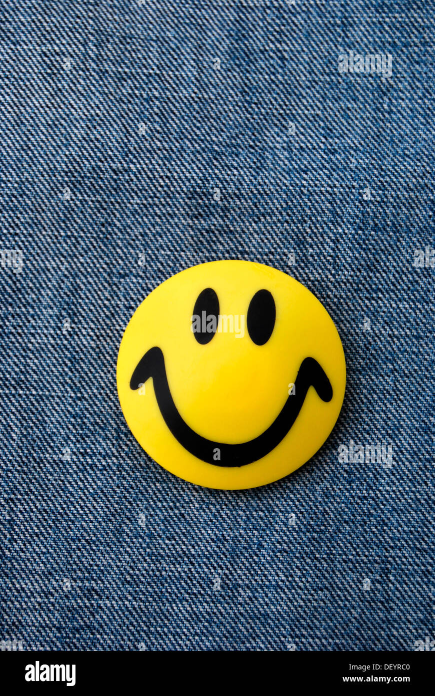 Smiley, kitchen magnets, yellow, jeans, good mood - Stock Image