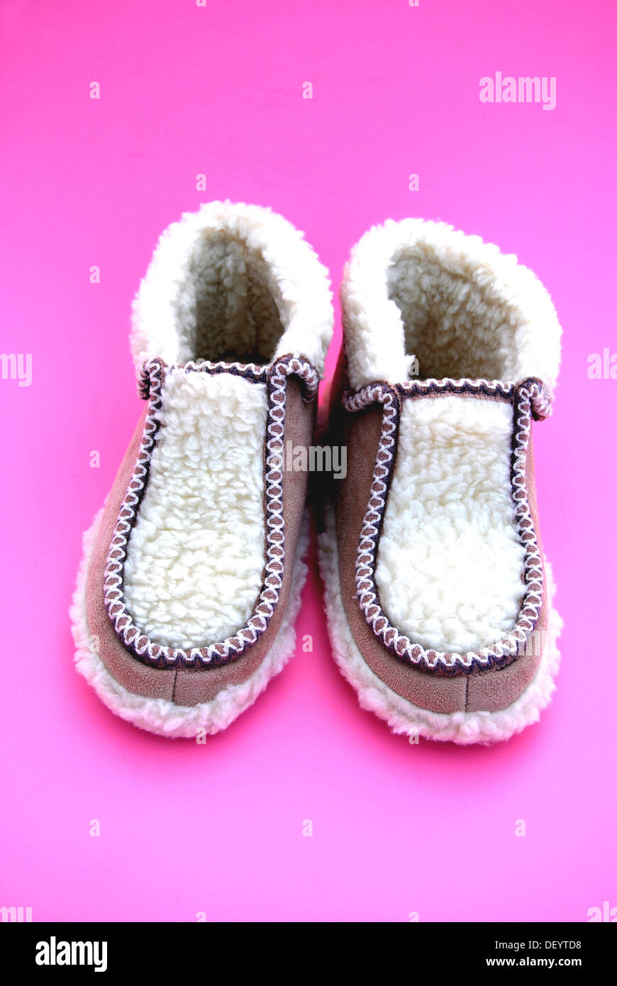 Warm house shoes made of sheep's wool - Stock Image