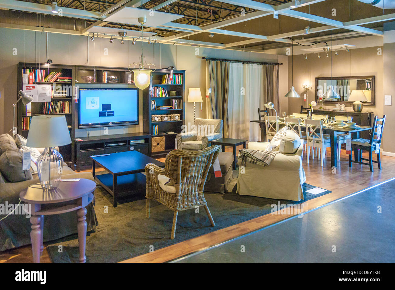 Living room and dining room setup display in an IKEA store in the ...