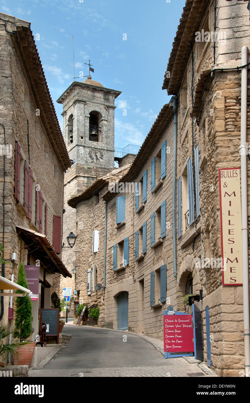 Chateauneuf du Pape is an AOC southern Rhone wine region French France - Stock Image