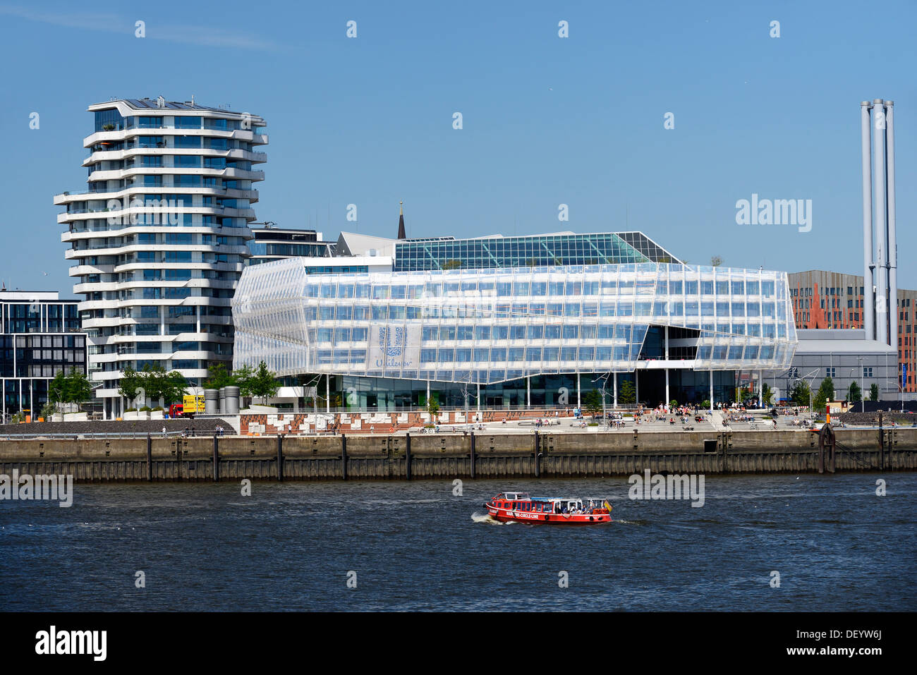 Marco Polo Tower and the Unilever headquarters on Strandkai area, Hafencity district, Hamburg - Stock Image