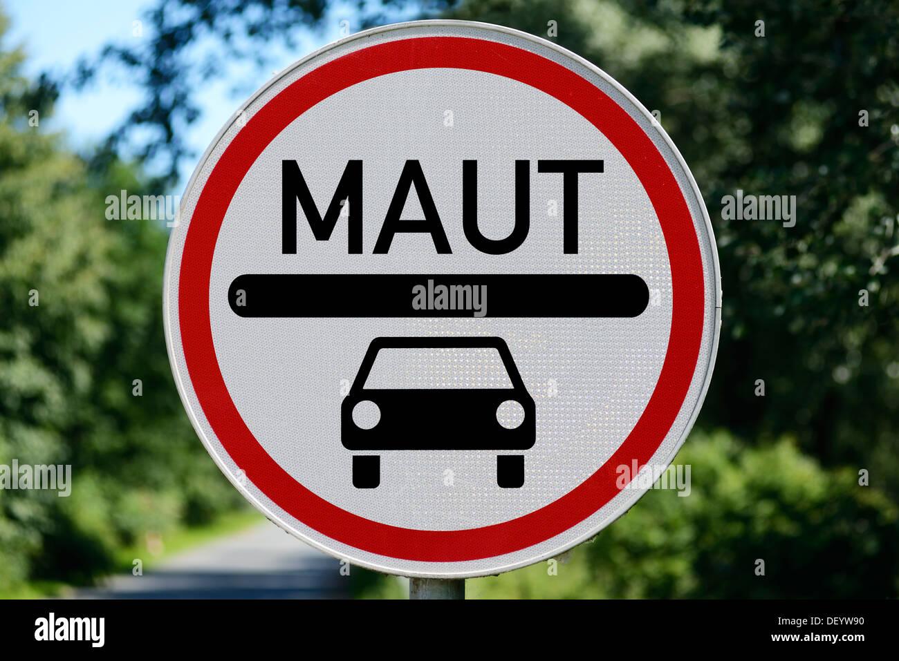 Passenger car toll, picture assembly, PKW-Maut, Bildmontage - Stock Image