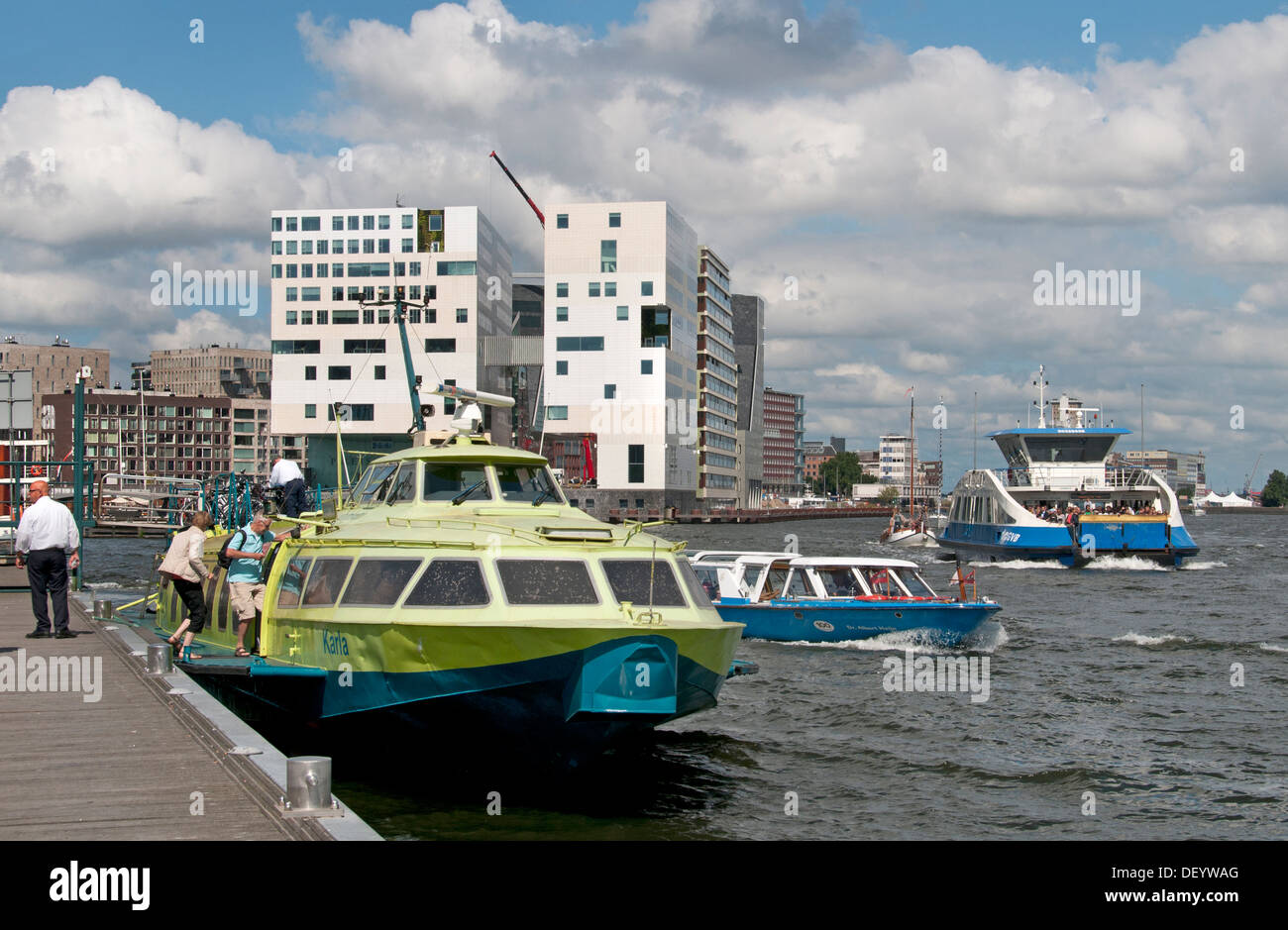 hydrofoil Fast Flying Ferry water connection on the North Sea Canal from IJmuiden and Amsterdam Central Station - Stock Image