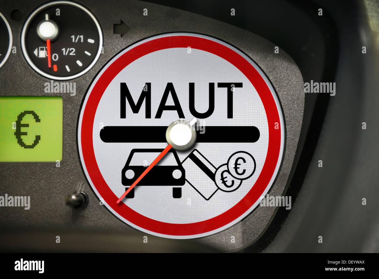 Passenger car toll, sign on speedometer disc, PKW-Maut, Schild auf Tachoscheibe - Stock Image