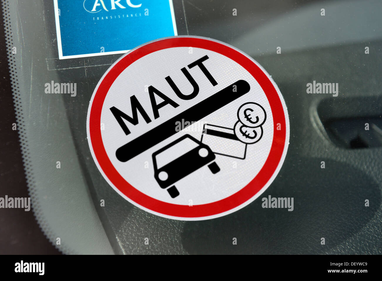 Passenger car toll, sticker on windscreen, PKW-Maut, Aufkleber auf Windschutzscheibe - Stock Image