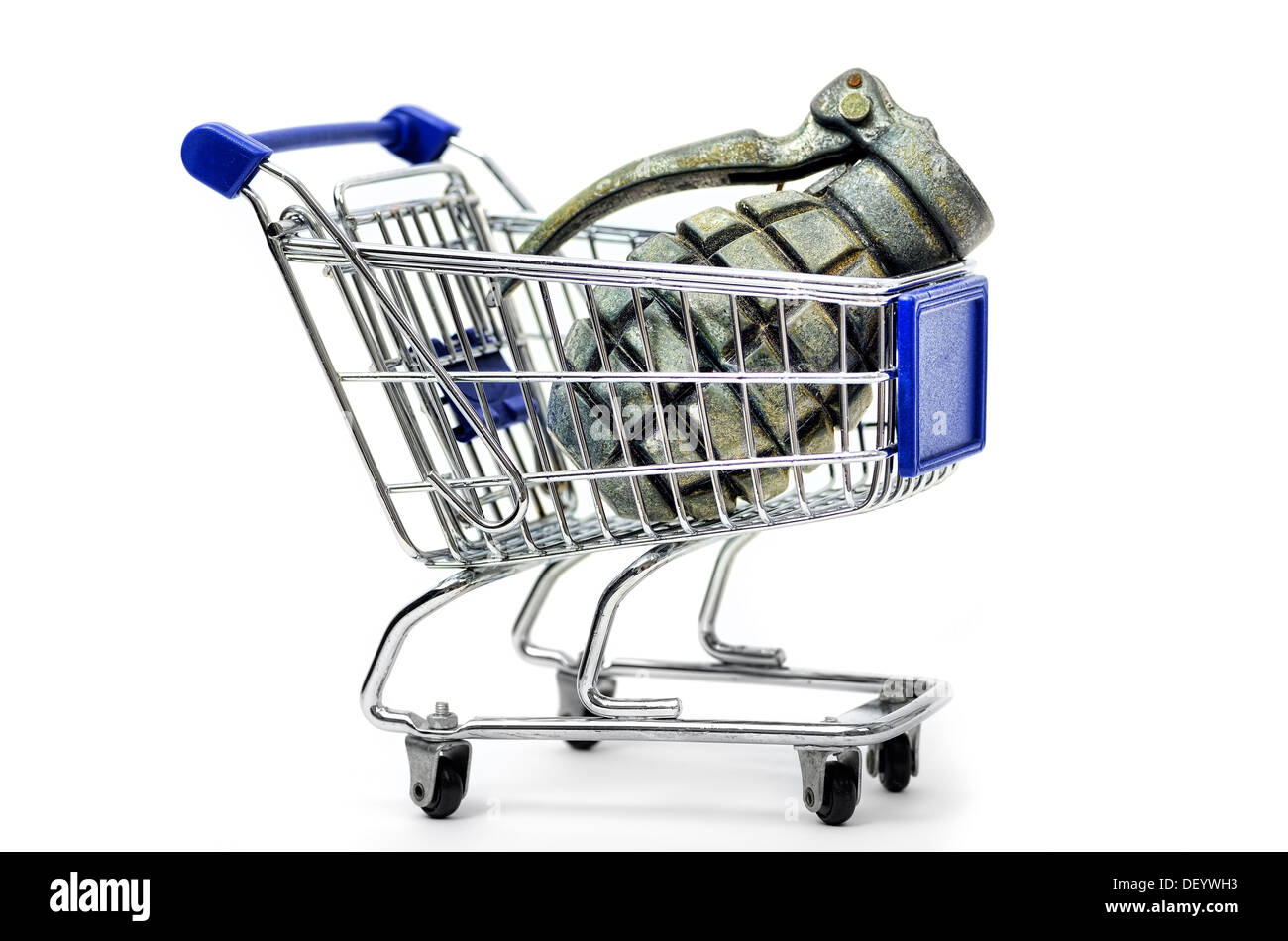Shopping carts with grenade, symbolic photo armament, Einkaufswagen mit Handgranate, Symbolfoto Rüstung Stock Photo