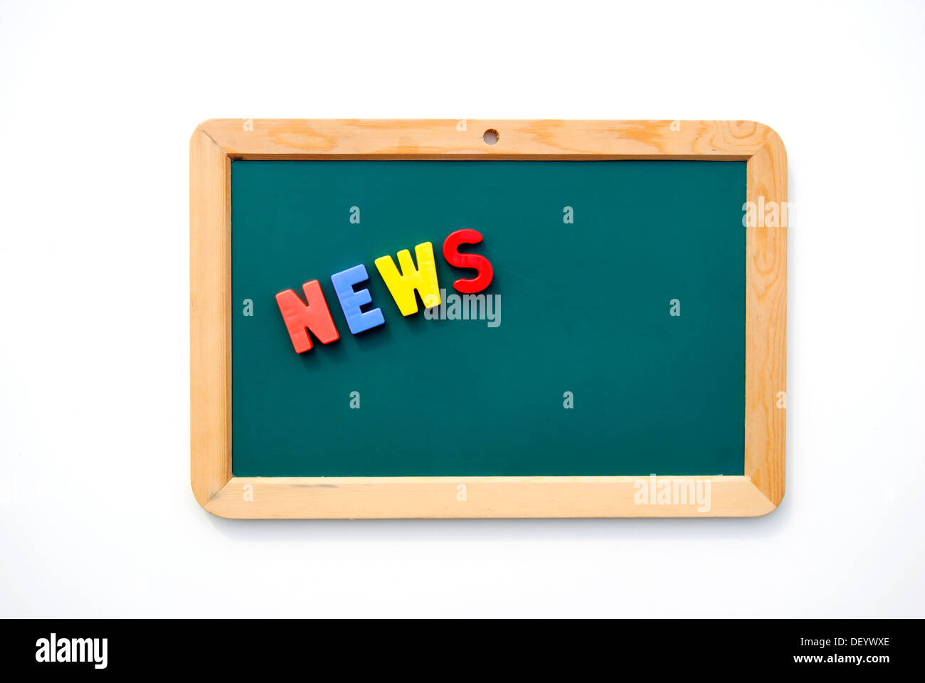 News, written with colourful magnetic letters on a child's blackboard - Stock Image