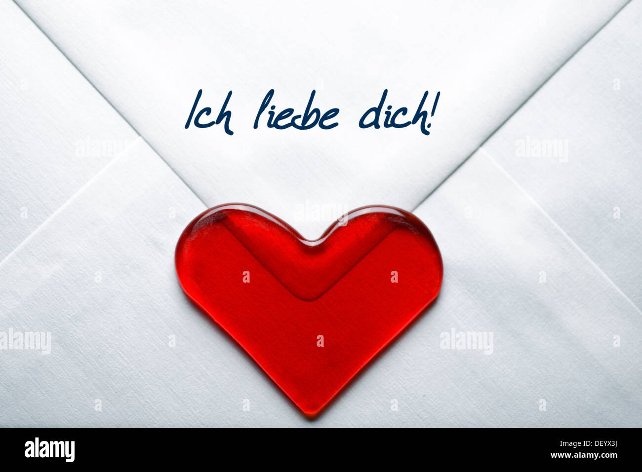 Love letter with a heart and the message 'Ich liebe dich', German for 'I love you', Germany - Stock Image
