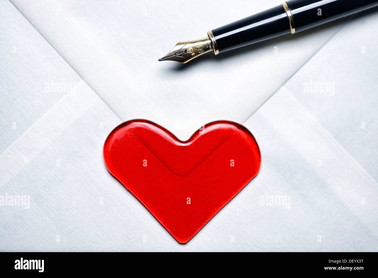 Love letter with a heart and a fountain pen, Germany - Stock Image