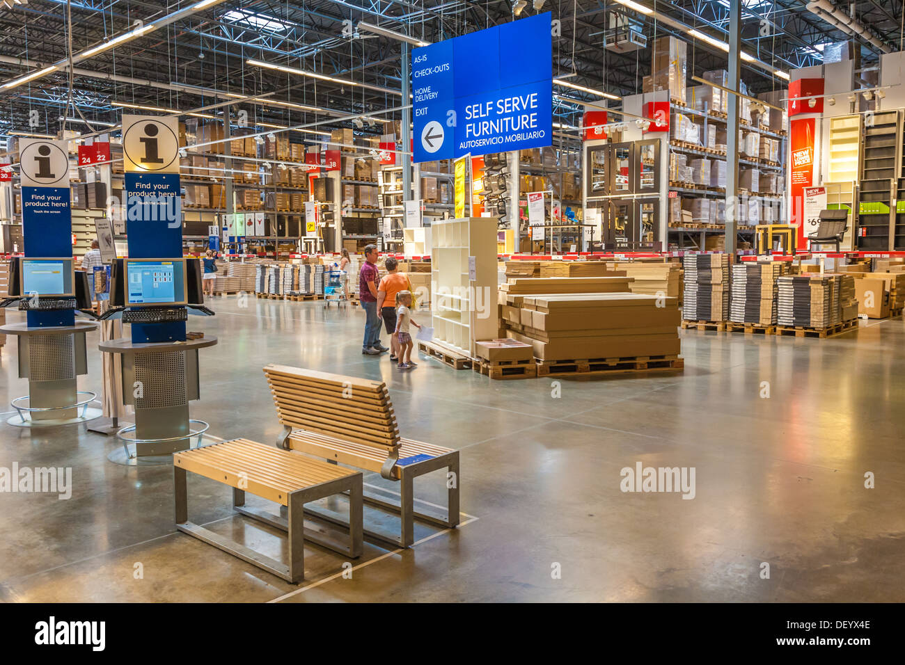 customers inside warehouse part of ikea home store stock photo 60849502 alamy. Black Bedroom Furniture Sets. Home Design Ideas