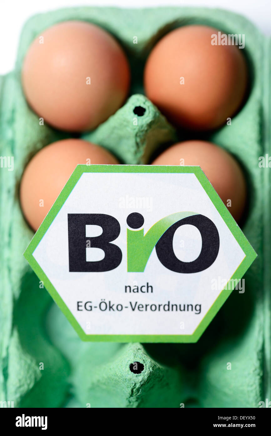 Hen's eggs with organic seal, symbolic image for mislabeled organic eggs, Germany Stock Photo
