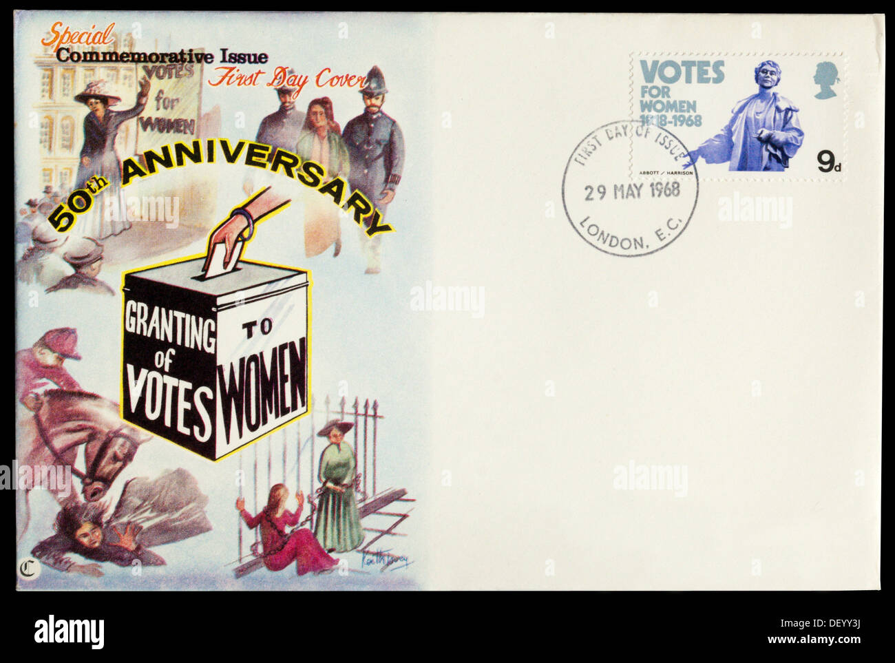 First Day Cover commemorating the 50th Anniversary of the Granting of Votes to Women - Stock Image
