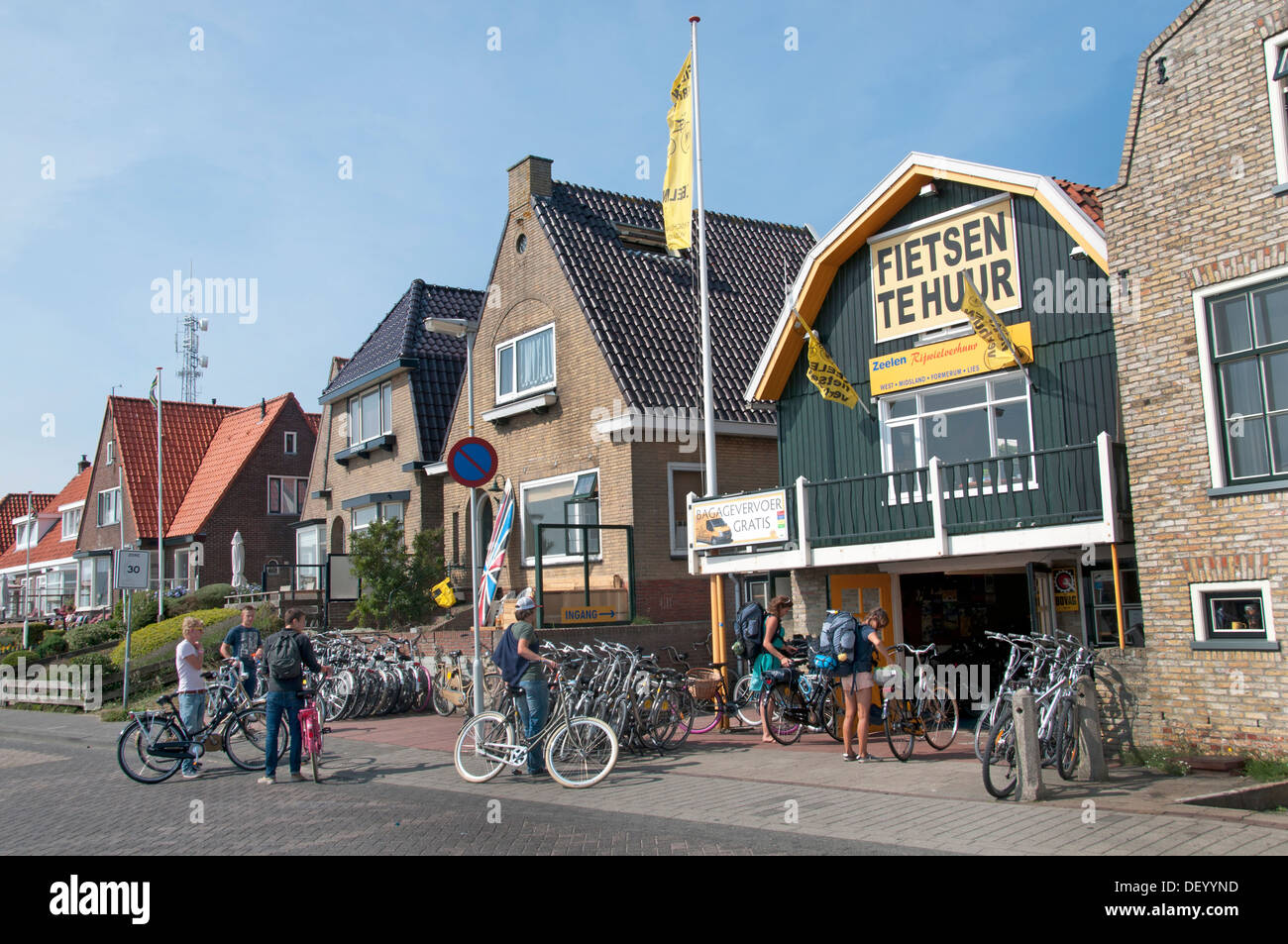 Terschelling Netherlands Bikes Bicycles for rent - Stock Image