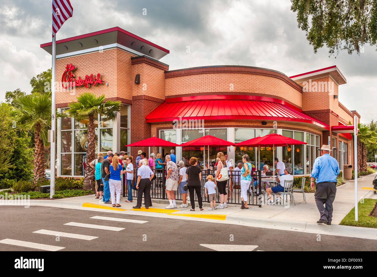 Customers Line Up Out The Door At The Chick Fil A Fast Food