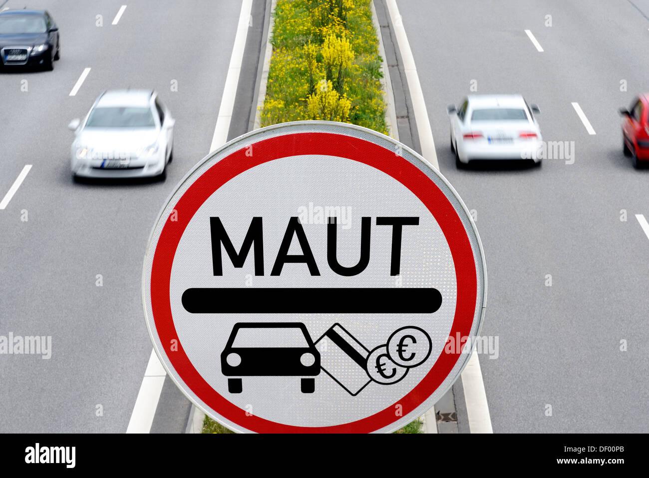 Highway with passenger car toll sign, photomontage, Autobahn mit PKW-Maut-Schild, Fotomontage - Stock Image