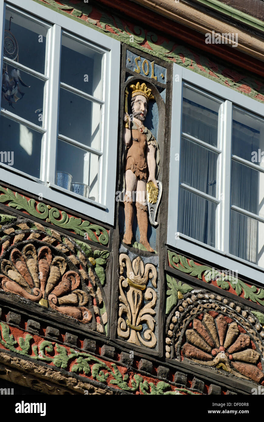 Wood Carving With A King As A Symbol Of The Sun Half Timbered House