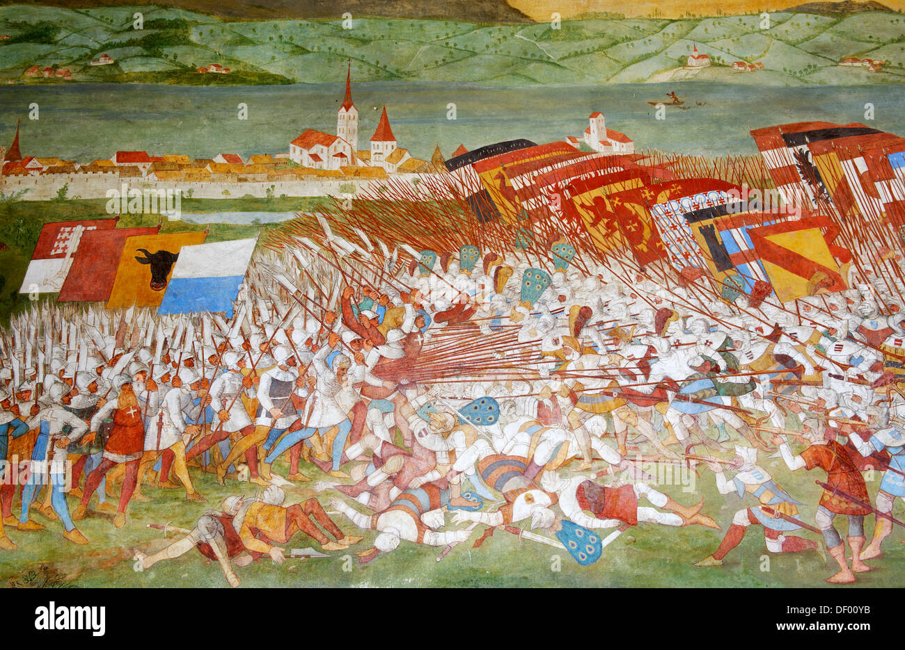 Fresco in the memorial chapel to the battle of Sempach (1386), in the center Arnold von Winkelried, Sempach, Canton Stock Photo