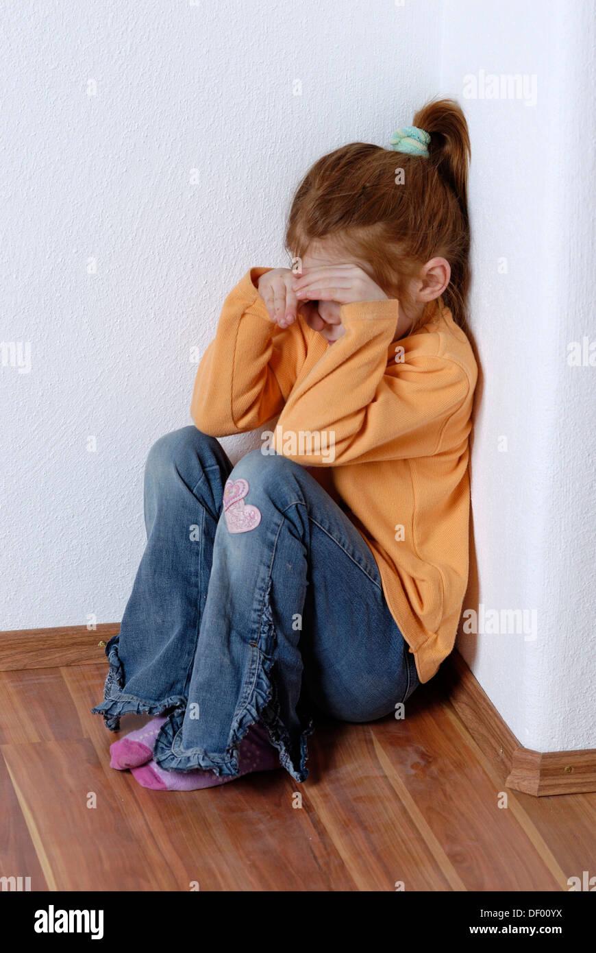 Child, girl, sad, obstinate - Stock Image