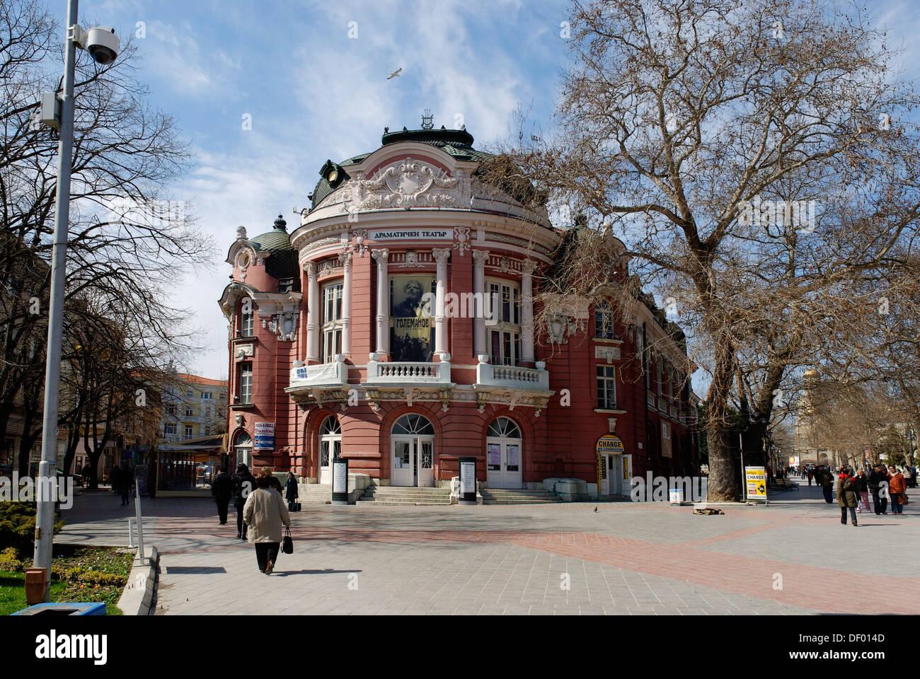 Pl. Nezavisimos, theatre, opera house, Varna, Bulgary, Europe - Stock Image