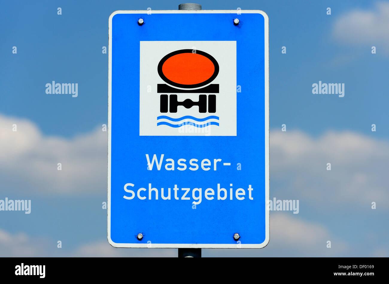 Sign Water protection area, Schild Wasserschutzgebiet Stock Photo