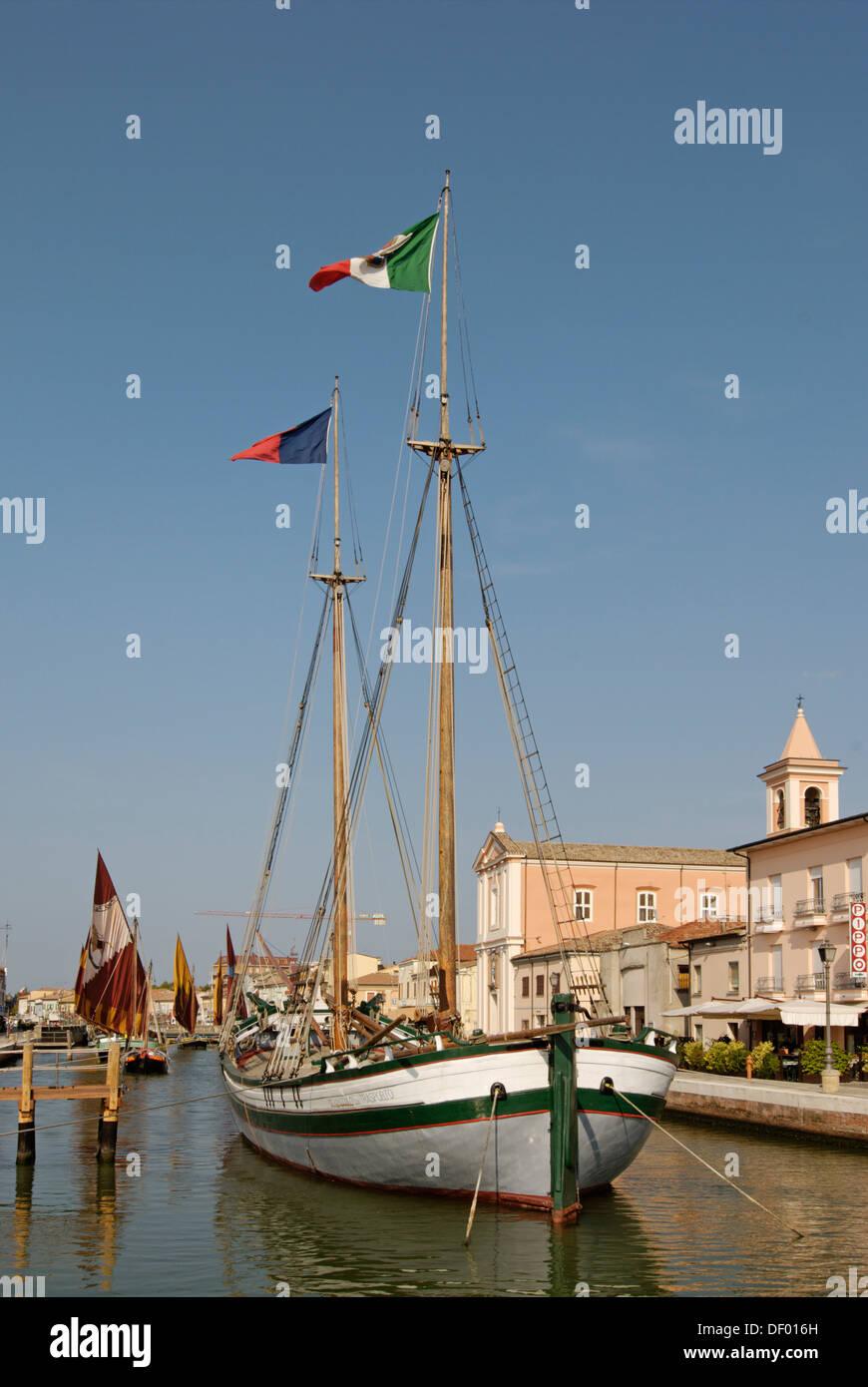 Cesenatico, at the Adriatic Sea, Adriatic coast, Marine Museum Museo della Marineria at the harbour, Emilia Romagna, Italy - Stock Image