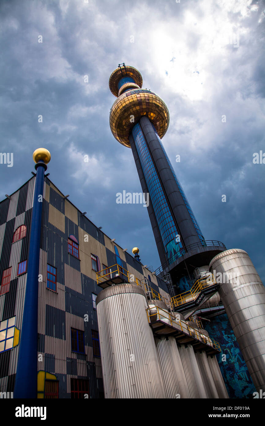 Spittelau waste incineration plant, designed by Friedensreich Hundertwasser, Vienna, Austria, Europe - Stock Image