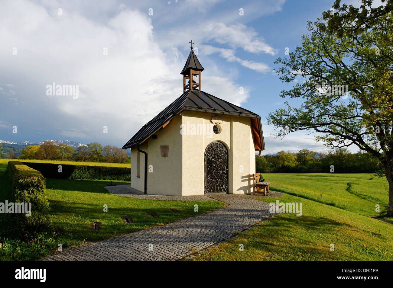 Barbara Chapel, Hohenbirken, Bad Heilbrunn, Loisachtal valley, Upper Bavaria, Bavaria - Stock Image