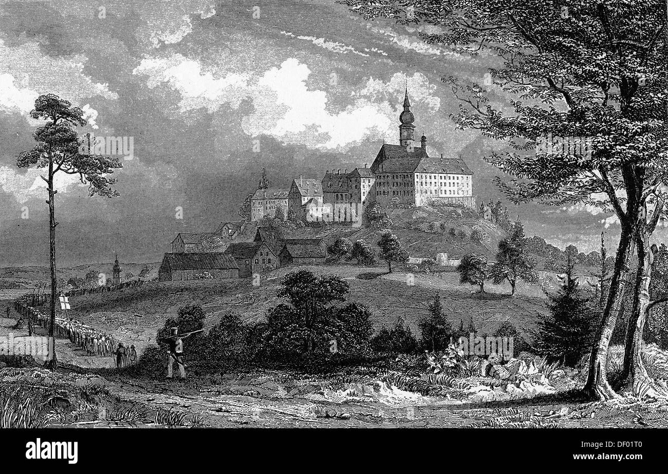 Andechs, steel engraving, around 1850, drawing and engraving by J. Poppel, Upper Bavaria, Bavaria - Stock Image