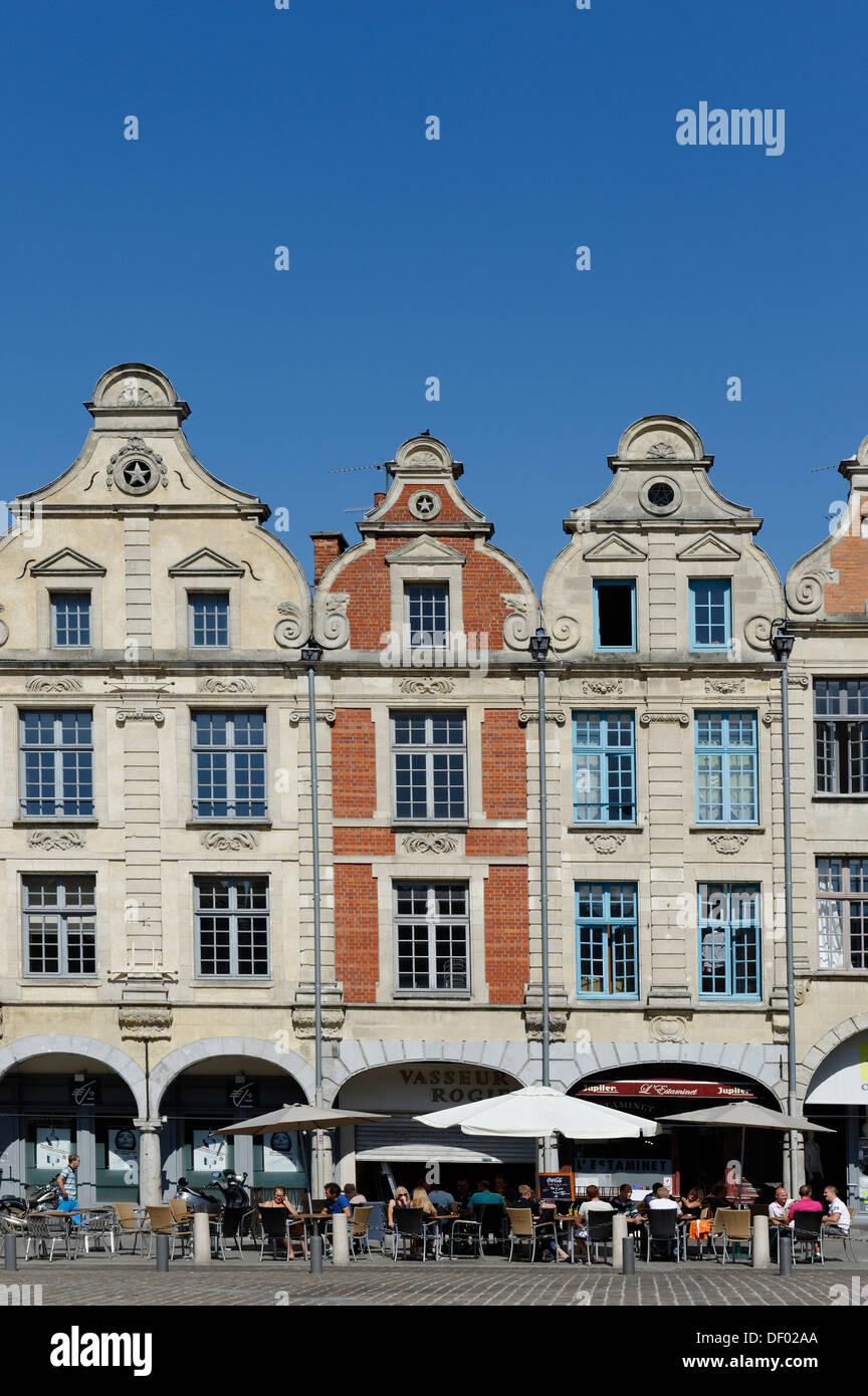 Gabled houses on Place des Heros square, Arras, Pas-de-Calais, France, Europe - Stock Image