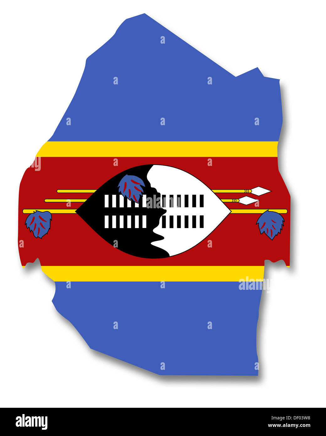 Map and flag of Swaziland Stock Photo