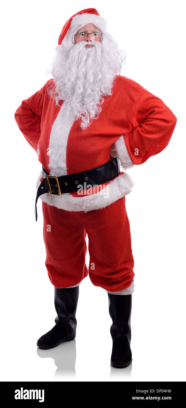 Santa displeased with naughty behavior isolated on a white background Stock Photo