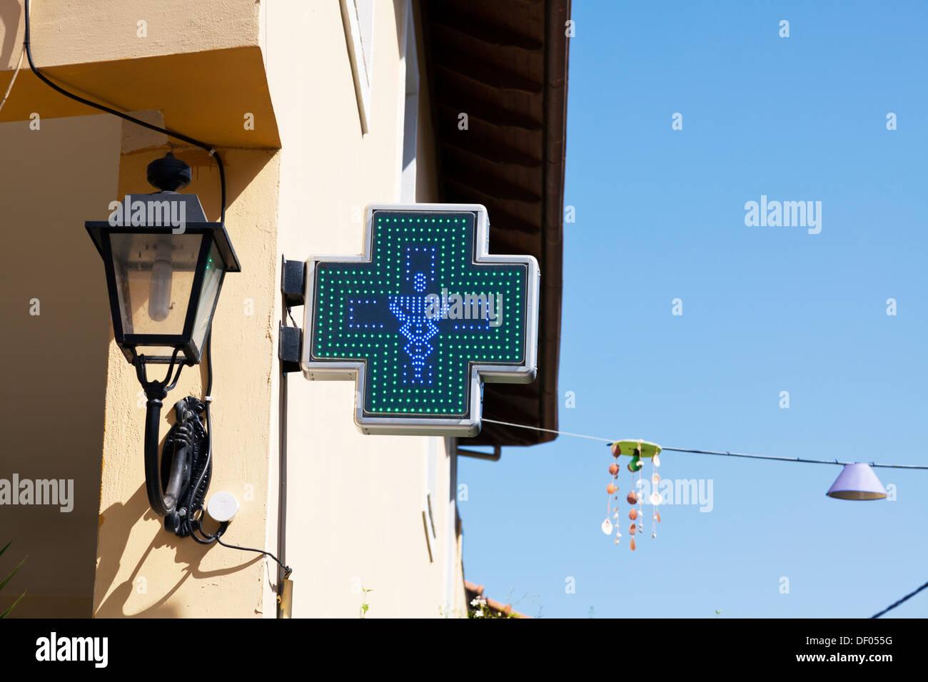 Pharmacist chemist exterior sign on main street Lefkada Lefkas Town Greek Island Greece - Stock Image