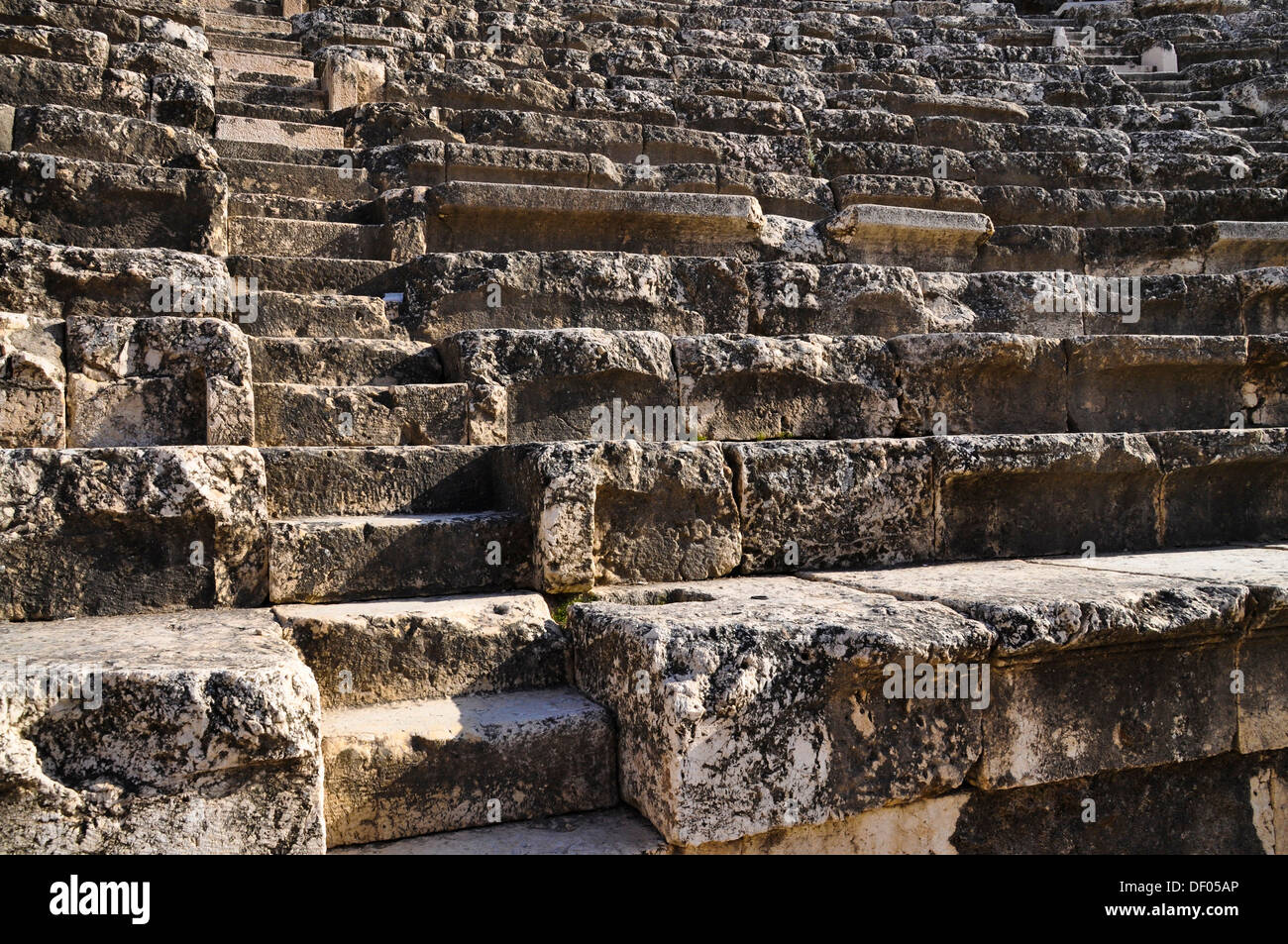 Stairs, Roman amphitheater, archaeological excavation site, Tel Beit She'an or Tell Beth-Shean, Israel, Middle East - Stock Image