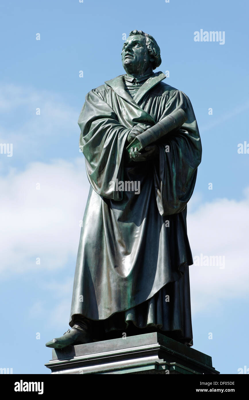 Statue of Martin Luther, 1483 - 1546, reformer, Luther Memorial, by E Ritschel, 1868, Worms, Rhineland-Palatinate, Germany - Stock Image