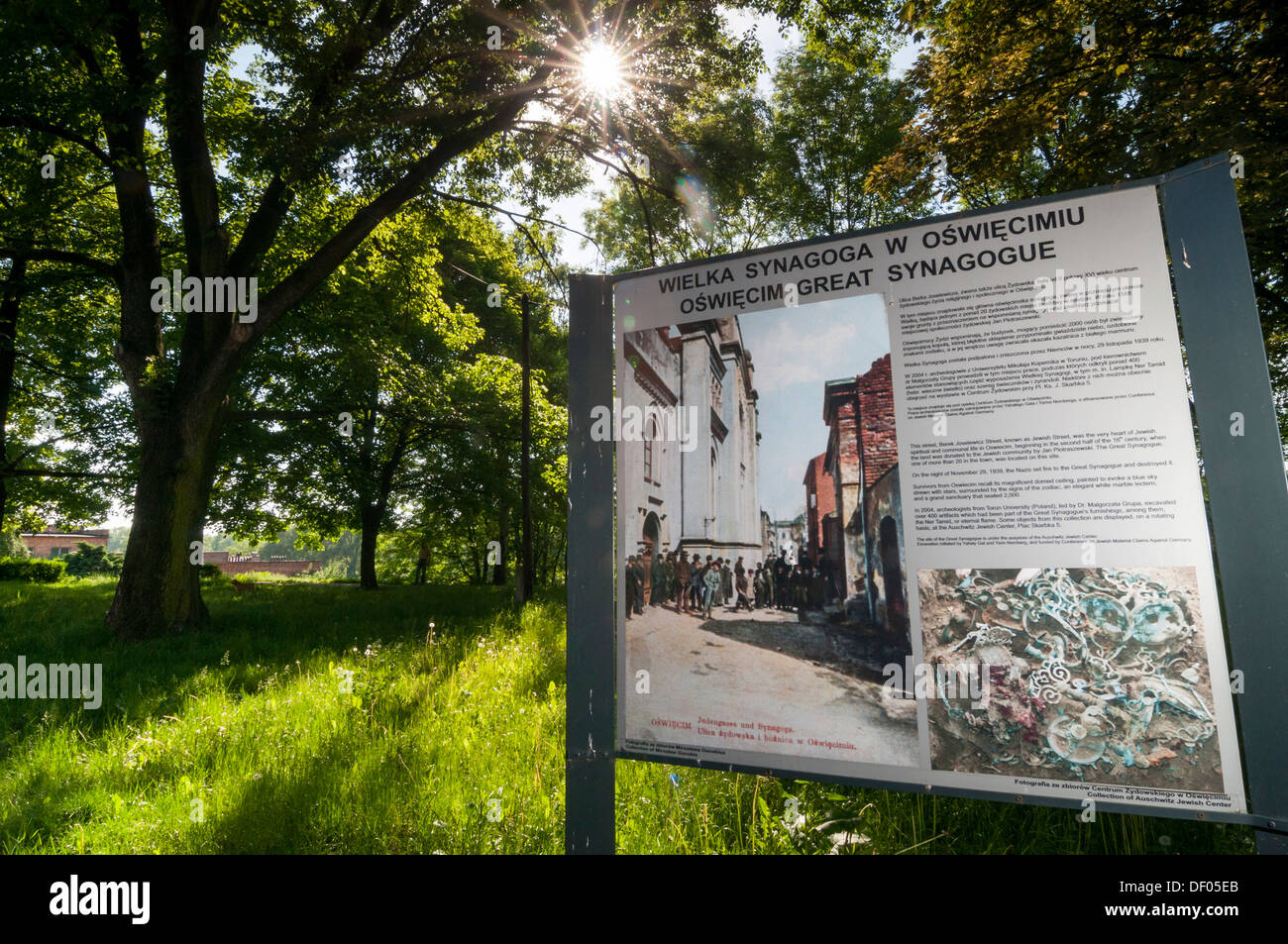 Sign where the Great Synagogue stood until 1939, Auschwitz, Oświęcim, Lesser Poland, Poland, Europe - Stock Image