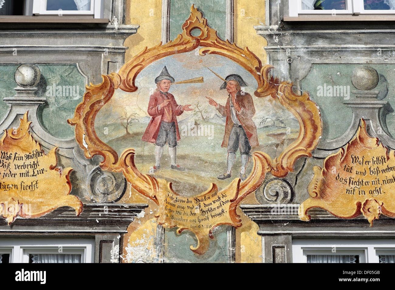 Parable of the splinter and the beam, Lueftl-Painting by F. Karner, 1764, former farmhouse, Im Gries, Mittenwald, Upper Bavaria - Stock Image