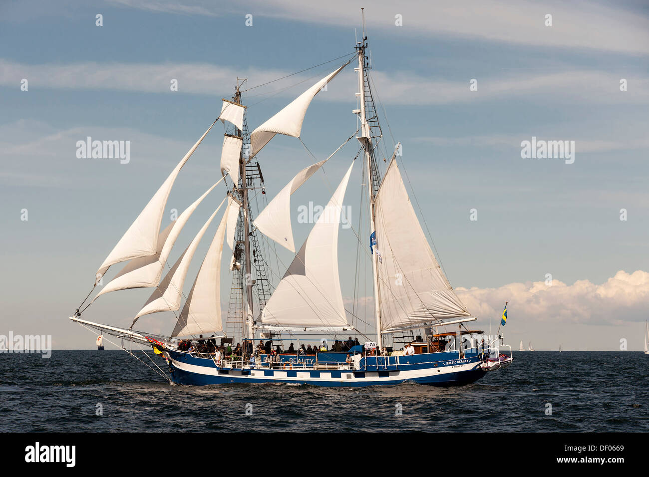 Baltic Beauty, a two-masted brigantine sailing ship during Hanse Sail 2012, Warnemuende, Mecklenburg-Western Pomerania - Stock Image