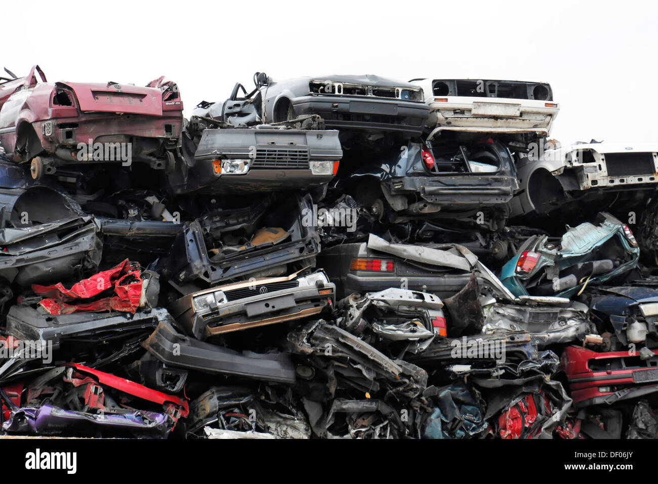 Scrap cars stacked in the port, Hanseatic city of Hamburg Stock Photo