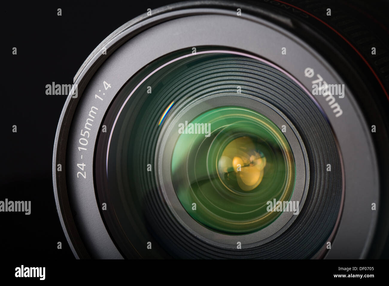 Close-up of the front of a zoom lens - Stock Image