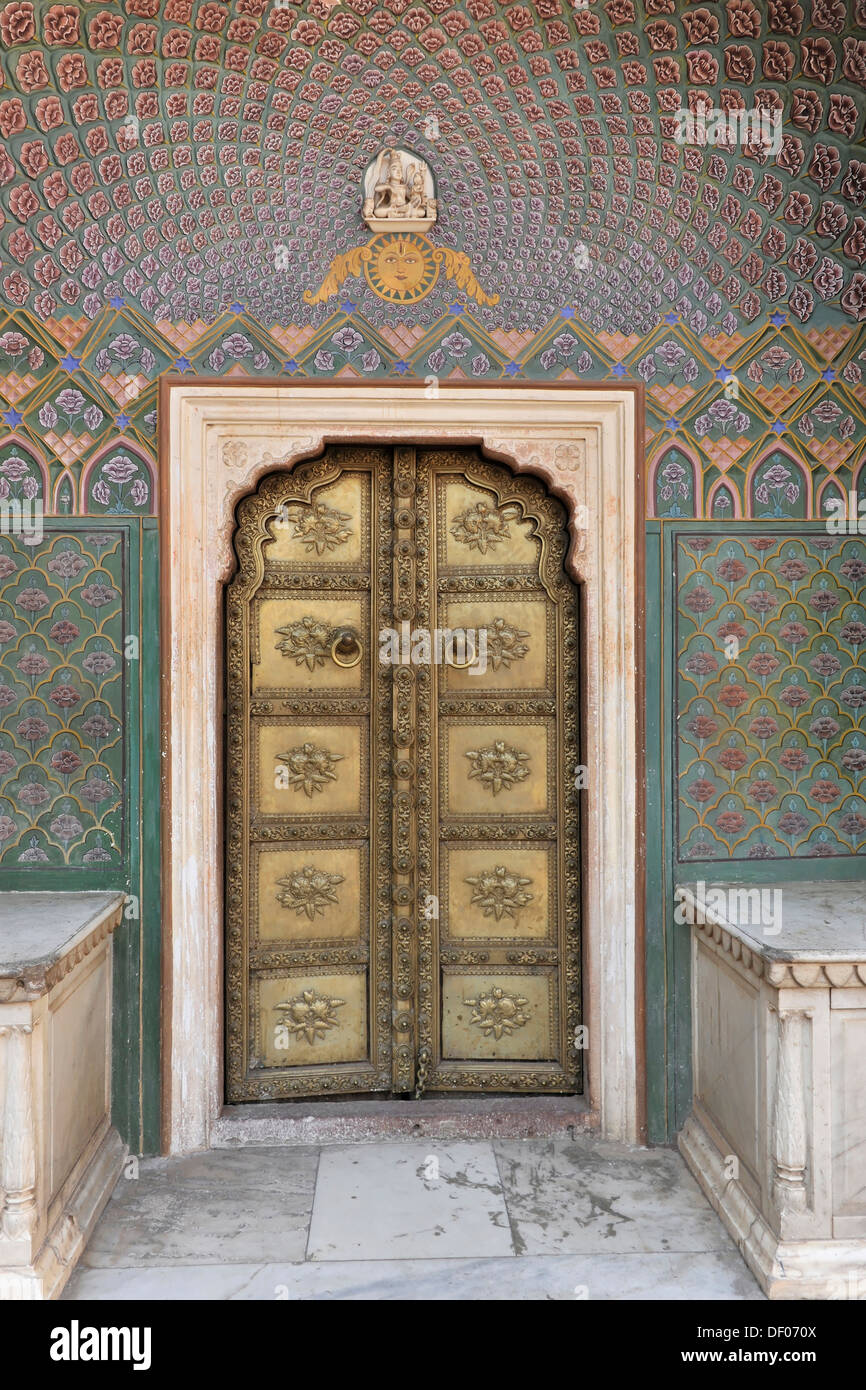 Entrance door, Chandra Mahal city palace, Jaipur, Rajasthan, North India, India, South Asia, Asia - Stock Image