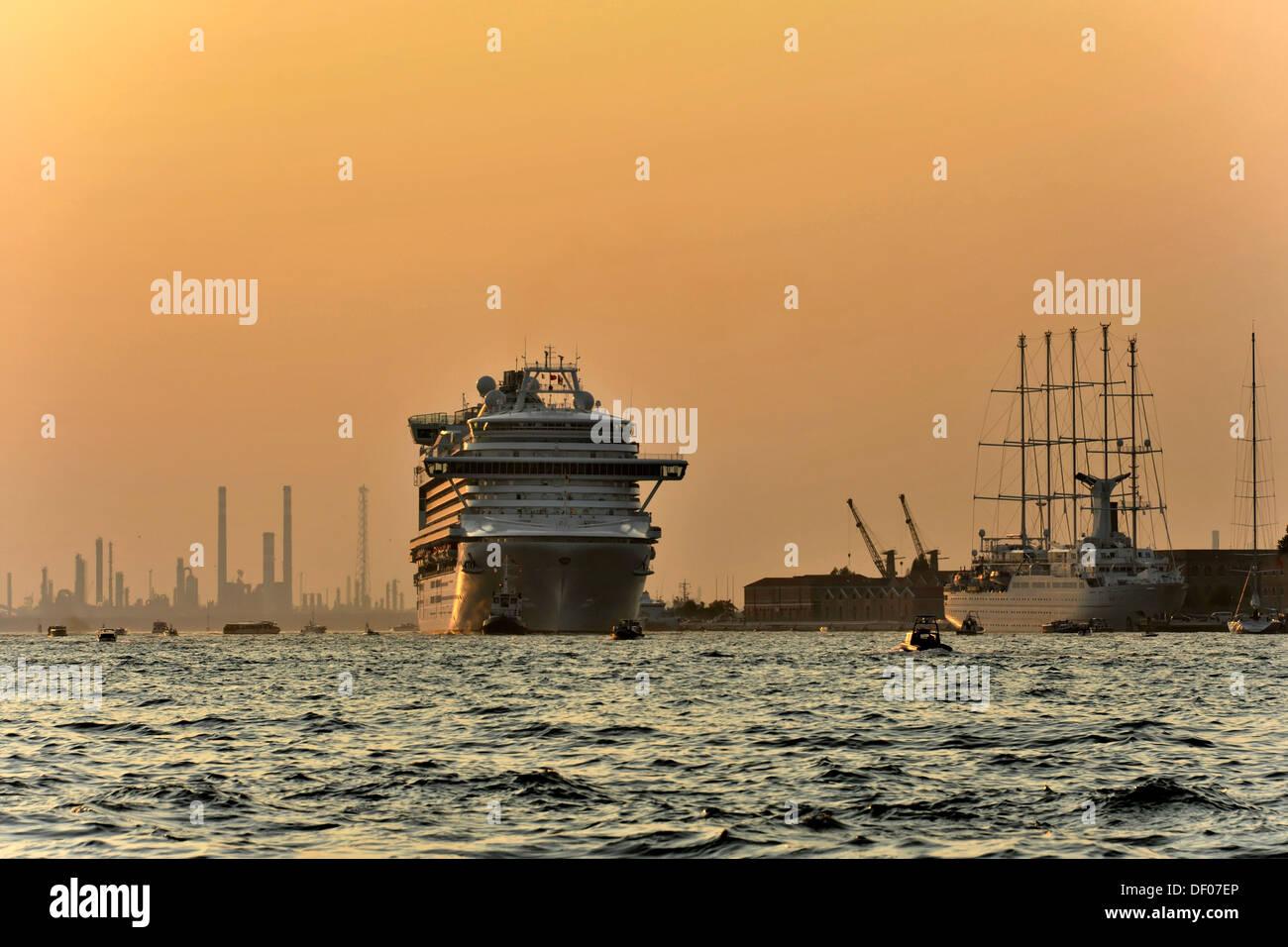 Cruise ship, Azura, built in 2010, 290m, 3100 passengers, leaving Venice, Veneto, Italy, Europe - Stock Image